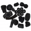 Resin Beads Irregular Chunky Shapes Black